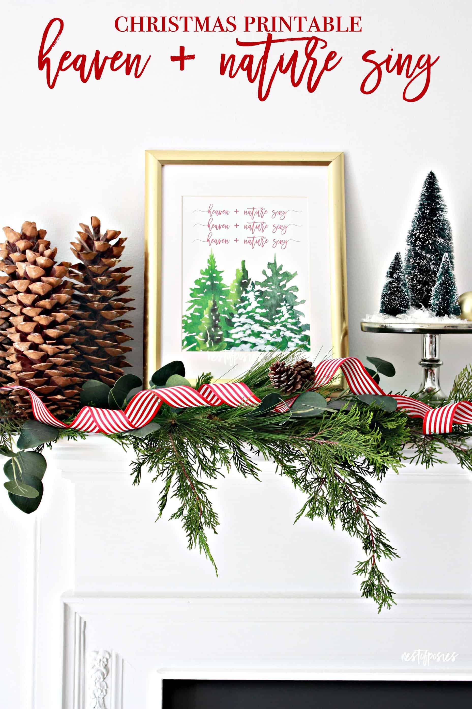 Free Christmas Printables for a fast and easy home decor DIY for the holiday season.