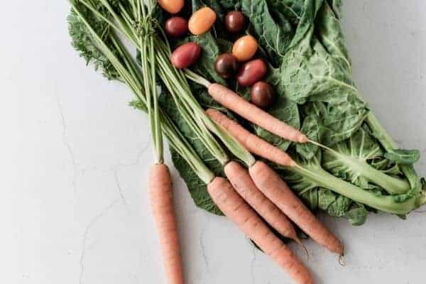 carrots, grape tomato's, and collards