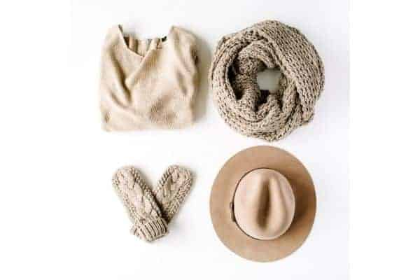 sweater, scarf, hat, and mittens... Outfit accessories.