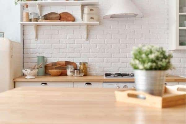 kitchen with first home essentials on the counter
