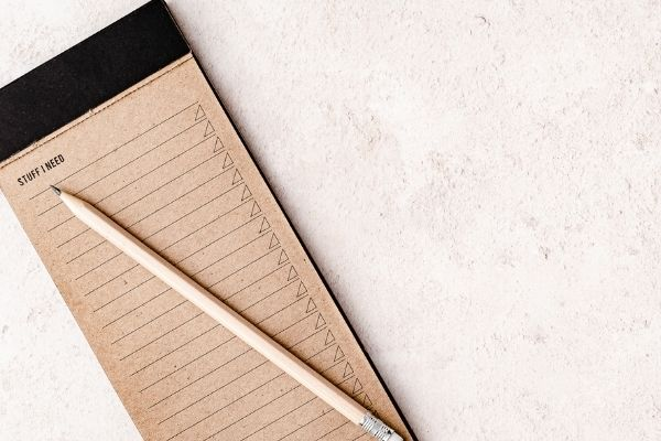 Note pad perfect for setting priorities.
