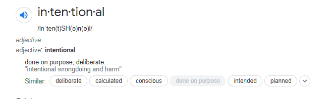 screenshot of the google definition of intentional