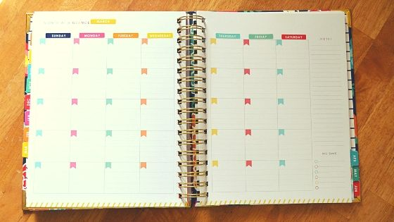Living well planner month at a glance