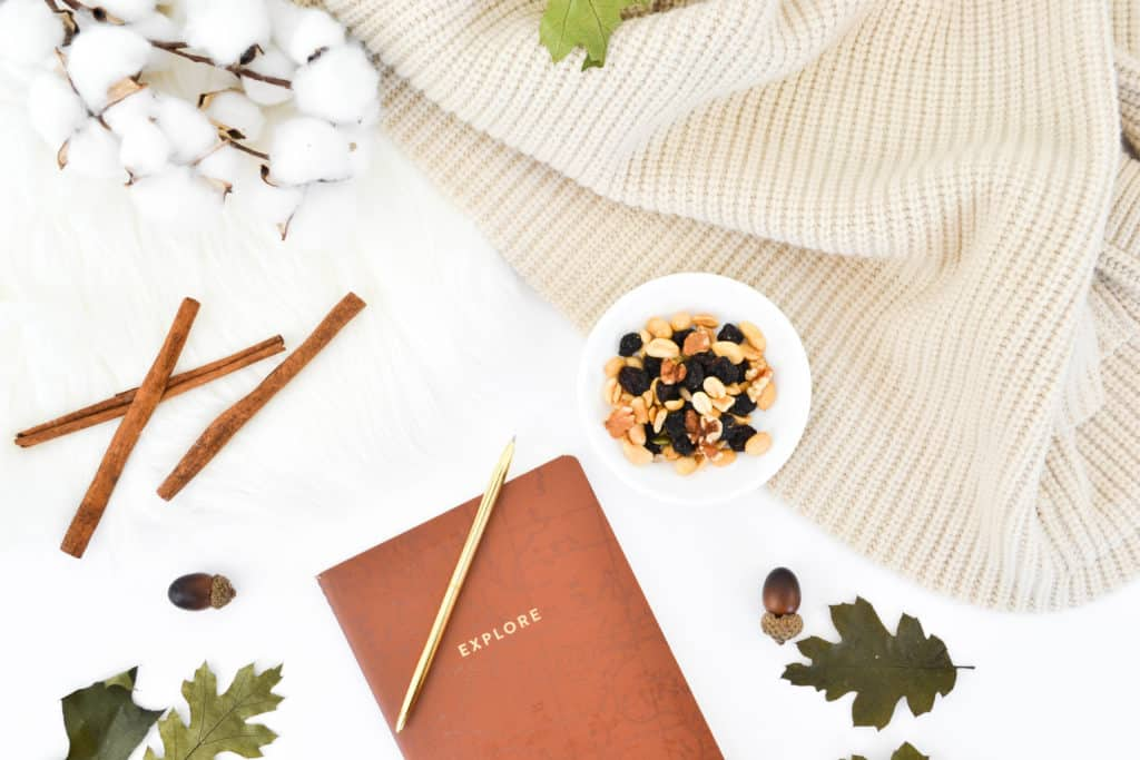 A flatly image with cotton stems, cinnamon sticks, cozy blanket, and note book.