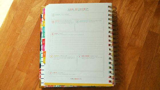 living well planner goal crushing page