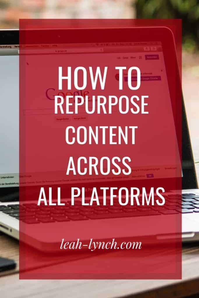 How to repurpose content across your platforms both from blog and video content to social.