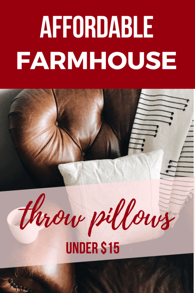 pin image with text overlay farmhouse style pillow overs.